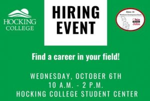 Hiring Event poster for Hocking College