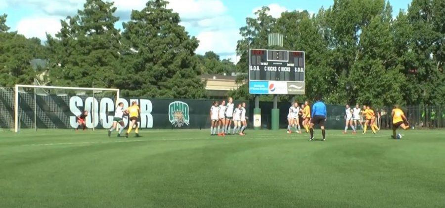 Ohio University women's soccer defends a free kick against Northern Kentucky University on Thursday