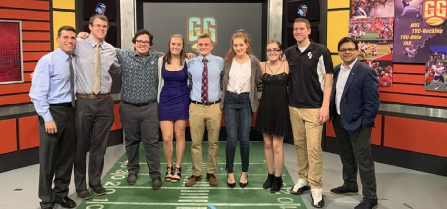 Gridiron Glory Student Production Team standing on set