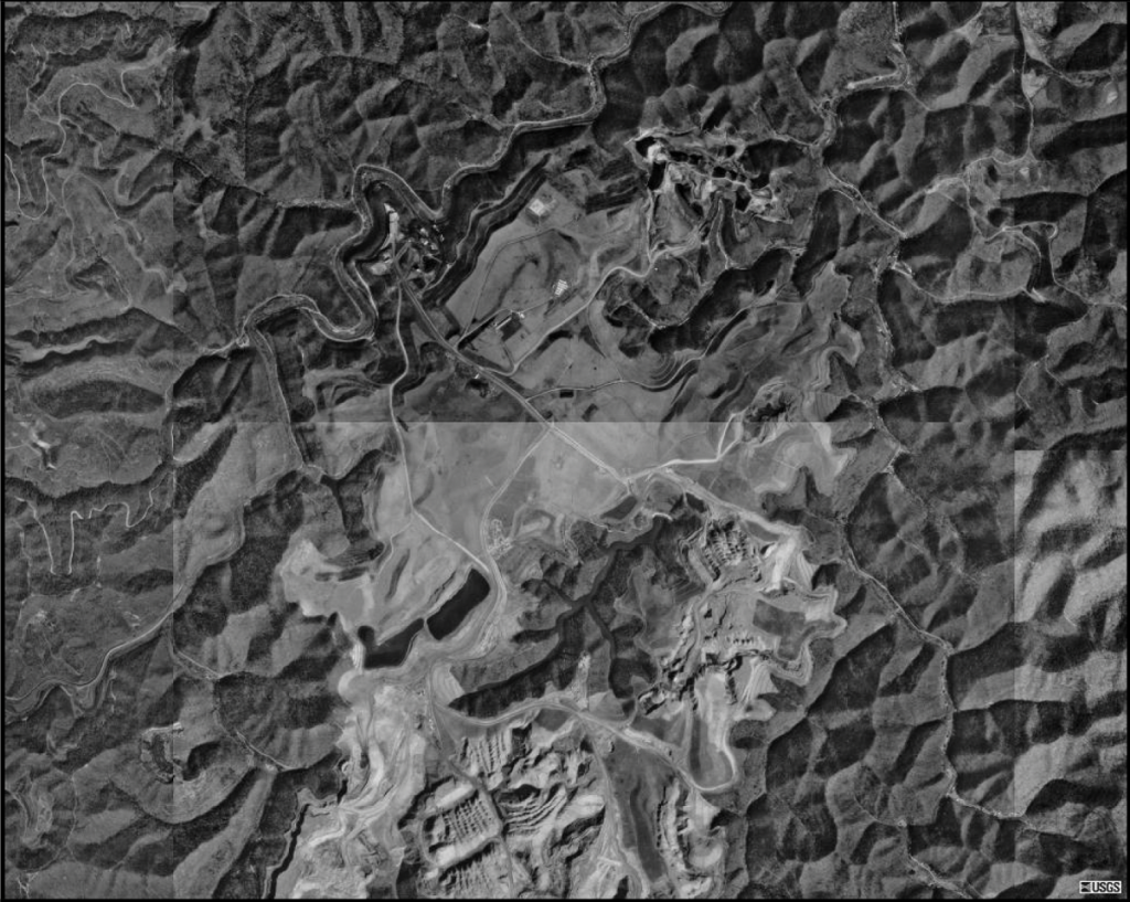 The old Martiki mine site, aerial view