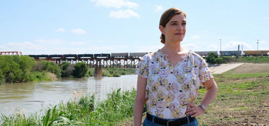 Pati Jinich on the bank of the Rio Grande River. (Laredo, TX)