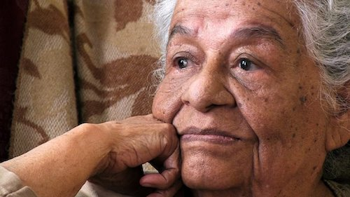 close up of elderly woman's face