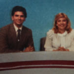 Levine and Schaffner on the NewsWatch desk in 1984