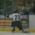 Drew Magyar celebrates following his goal in Bobcats hockey's game against Roosevelt on Saturday, Oct. 9, 2021.
