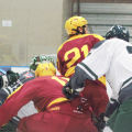 Players for Ohio and Iowa State battle for the puck in front of the net in their game at Bird Arena on Friday, Oct. 15, 2021.