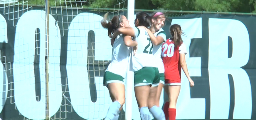Ohio soccer's Sarina Dirrig (22) celebrates with Olivia Sensky (left) and Madison Clayton (right) following Dirrig's goal against Miami on Oct. 17, 2021.