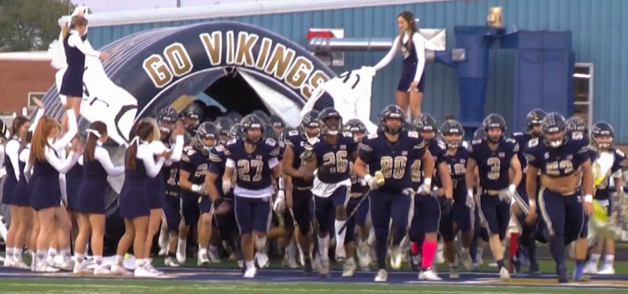 Teays Valley run out of the tunnel for their game against Amanda-Clearcreek