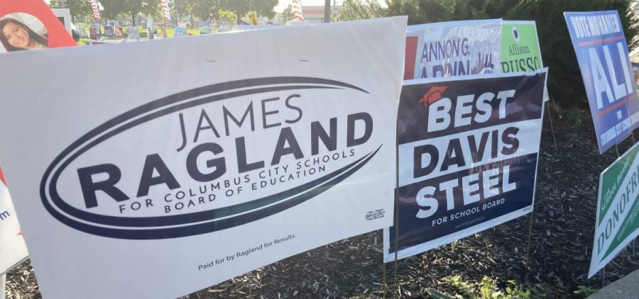 Signs advertising candidates for Columbus School Board dot the landscape outside of the Franklin County Board Of Elections on Morse Road in Columbus.