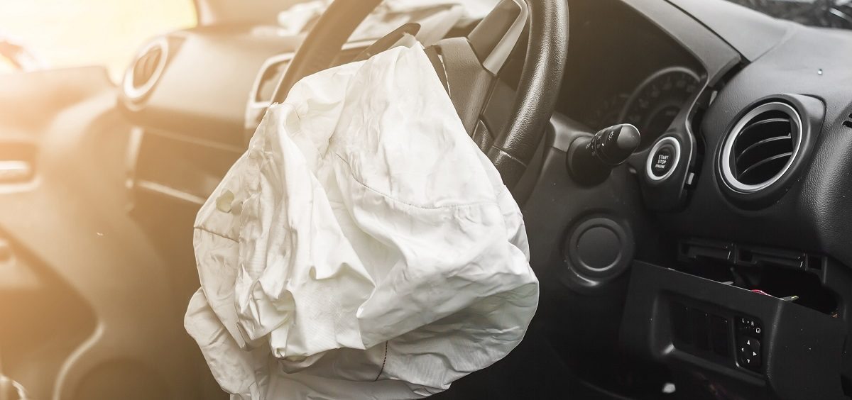 A deployed airbag after a vehicle crash