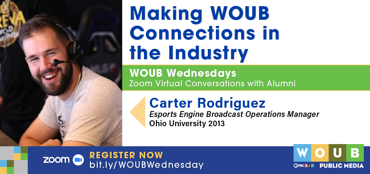 Graphic promoting Carter Rodriguez WOUB Wednesday